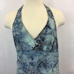 Vintage Dresses - Vintage Hourglass Blue Rose Snakeskin Halter Dress
